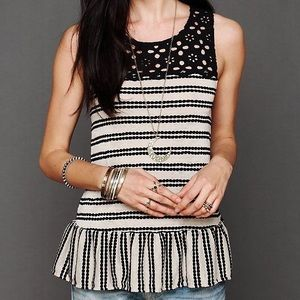 Free People Striped Eyelet Peplum Tank Top
